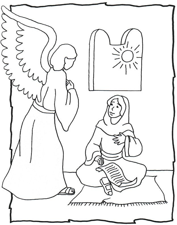 Mary and Angel Coloring Page